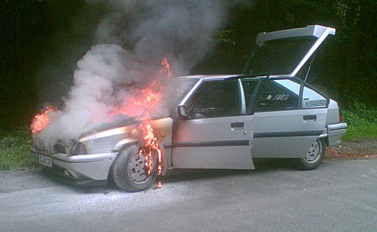 Classic fuel fire. On my way to the car's first Citroën meeting, no less.
